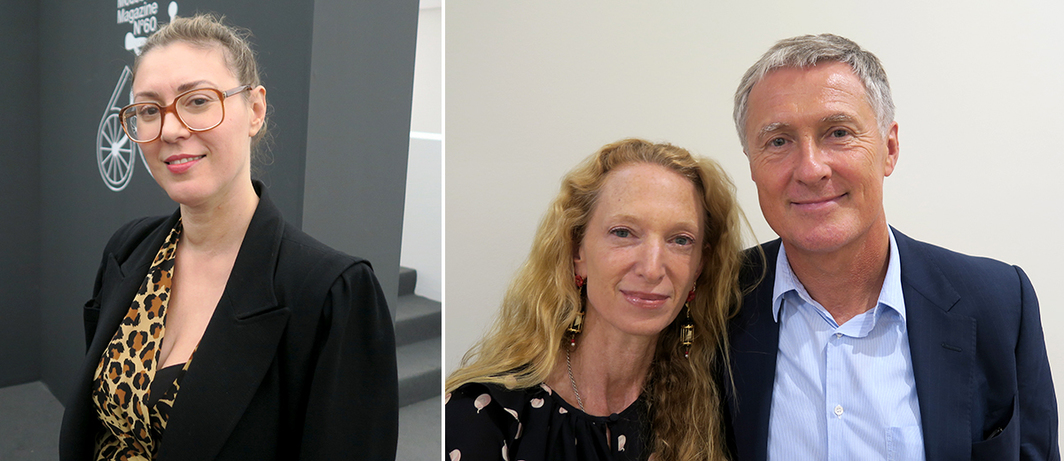 Left: Kunsthalle Basel director Elena Filipovic. Right: Accessories designer Monica Zwirner and dealer David Zwirner.