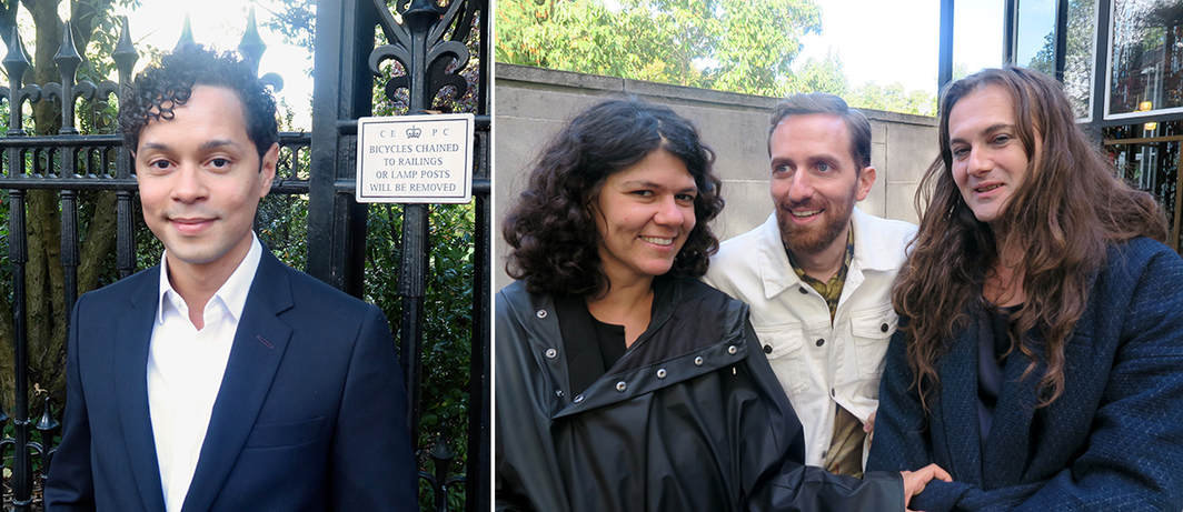 Left: Delfina Foundation director Aaron Cezar. Right: Dealer Sylvia Kouvali, artist Christodoulos Panayiotou, and Fiorucci Art Trust director Milovan Farronato.