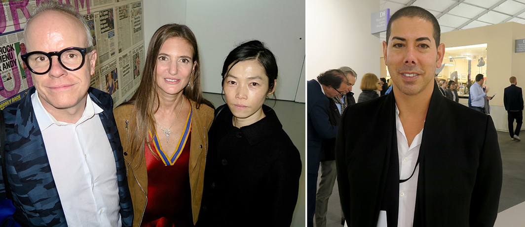 Left: Serpentine Gallery curator Hans Ulrich Obrist, dealer Pilar Corrias, and artist Koo Jeong A. Right: Dealer Casey Kaplan.