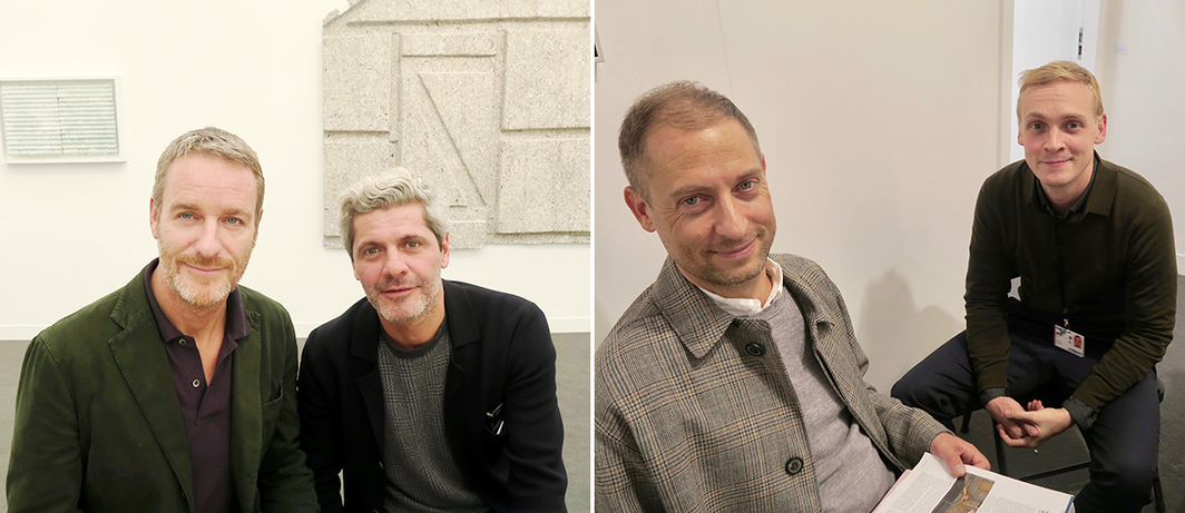 Left: Dealer Lorcan O'Neill and architect Luca Cipelletti. Right: MoMA chief curator Stuart Comer and dealer Peter Currie.