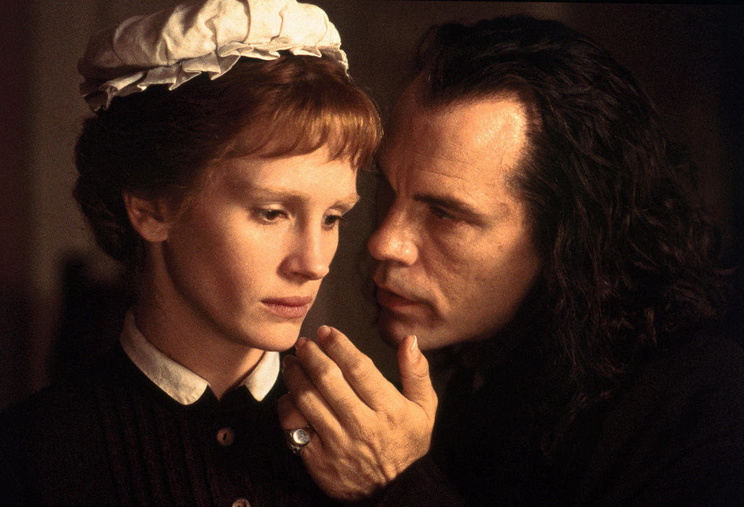 Stephen Frears, Mary Reilly, 1996, 35 mm, color, sound, 108 minutes. Mary Reilly and Dr. Henry Jekyll / Mr. Edward Hyde (Julia Roberts and John Malkovich).