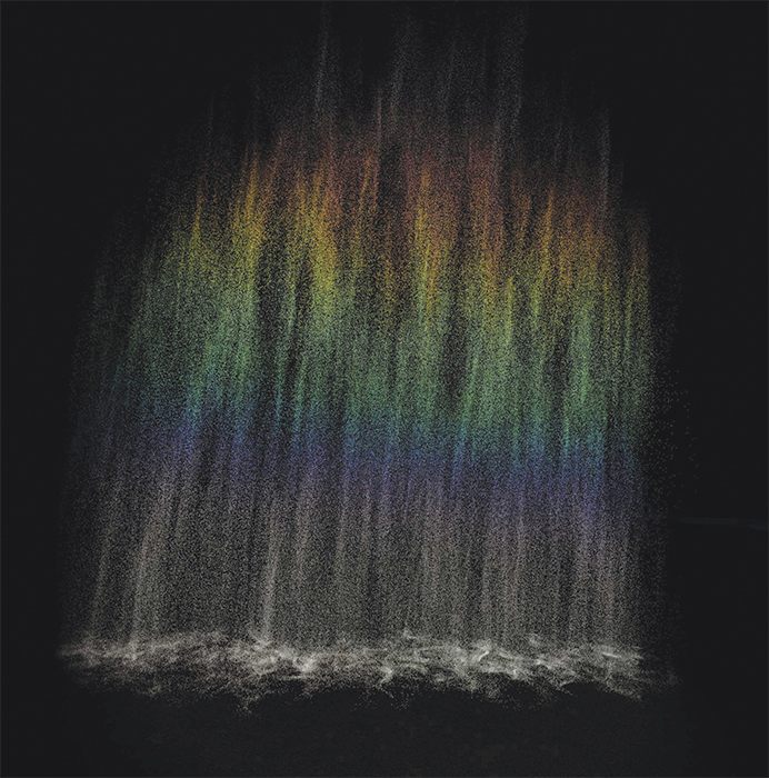 Olafur Eliasson, Rainbow (work in progress), VR video, color, sound, indefinite duration.