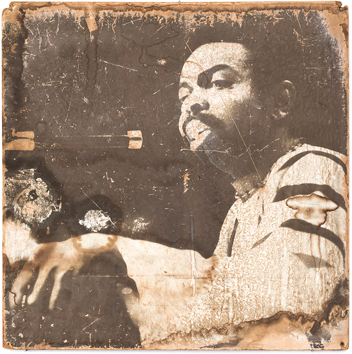 "Darryl Cowherd, Portrait of Amiri Baraka, 1967, gelatin silver print on paper mounted on board, approx. 26 × 26"". From the Organization of Black American Culture's Wall of Respect, 1967."