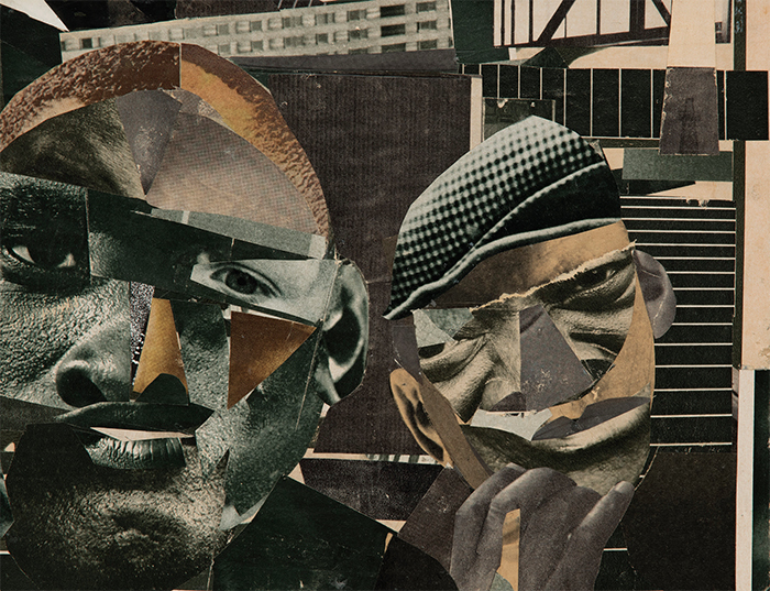 "Romare Bearden, Pittsburgh Memory, 1964, paper collage and graphite on board, 8 1/2 × 11 3/4""."