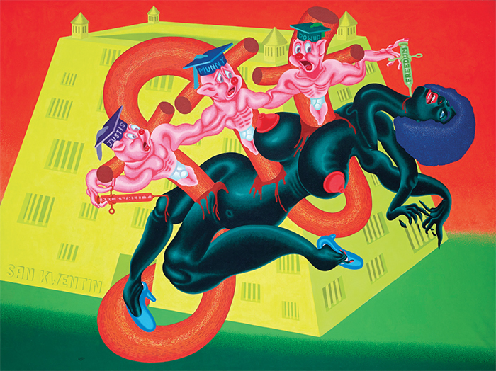 "Peter Saul, San Quentin #1 (Angela Davis at San Quentin), 1971, oil on canvas, 71 × 94""."