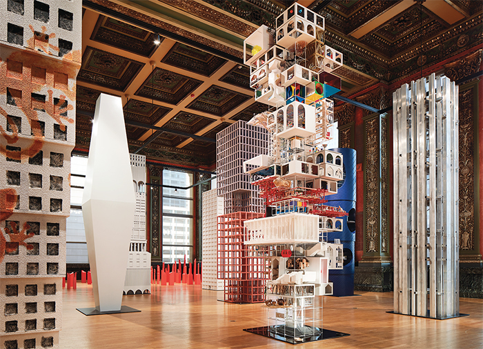 "View of ""Vertical City,"" 2017, Chicago Cultural Center. Photo: Steve Hall."