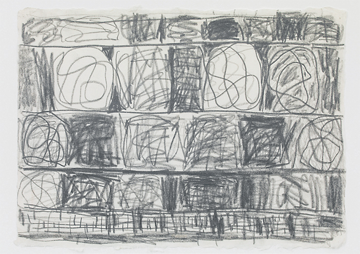 "Stanley Whitney, Untitled, 1996, graphite on Japanese rice paper, 12 5/8 × 16 7/8""."