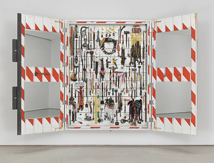 "Tom Sachs, The Cabinet, 2014, mixed media, 8' x 13' x 11 1/2""."