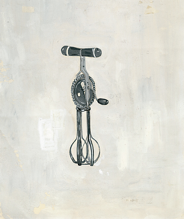 "Maira Kalman, It was a unique eggbeater, 2004, gouache on paper, 11 1/8 x 7 7/8""."