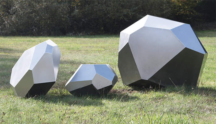 "Julie Speidel, Otemma Glacier, 2016, stainless steel, overall 3' 8"" x 10' 3 1/2"" x 4' 1""."