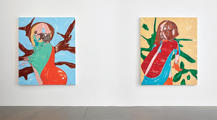 "View of ""Nicola Tyson,"" 2017. From left: Outside 1, 2017, Outside 2, 2017."