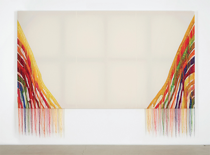 "Kyungah Ham, Abstract Weave / Morris Louis Alpha Upsilon 1960 NB001-01, 2014, North Korean machine embroidery, silk threads on cotton, middleman, anxiety, censorship, wooden frame, collected world internet news articles, tassels, 6' 4 3/4"" x 11' 7 3/8""."
