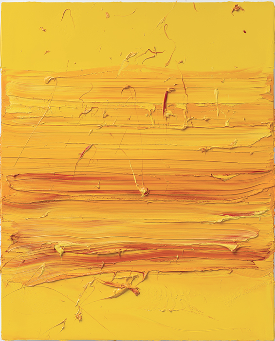 "Jason Martin, Untitled (Permanent Yellow/Madder Lake), 2017, oil on aluminum, 86 5/8 x 70""."