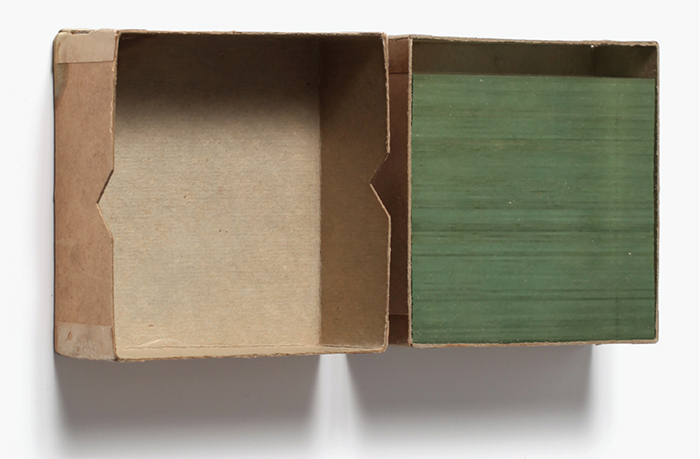 "Gabriel de la Mora, Cristales de inevidencia (Glass Slides of Nonevidence), 2014, glass stereoscopic slides, cardboard box, 4 1/4 x 4 1/4 x 1 3/4"". From ""Formasobrefondo."""