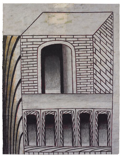 "Martín Ramírez, Untitled (Brick Structure with Arches), ca. 1960–63, gouache, colored pencil, and graphite on paper, 24 x 18 1/2""."