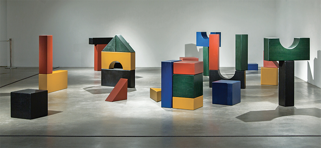 Yto Barrada, Lyautey Unit Blocks (Play), 2010, paint on wood. Installation view, Metropolitan Museum of Art,