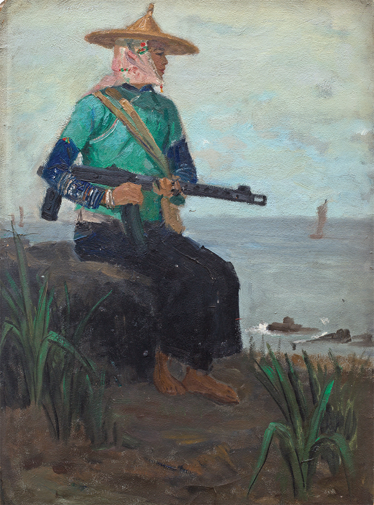 "Zhuang Yan, A Female Soldier on the Fishing Island, 1962, oil on paper, 21 1/4 × 15 3/8"". From ""Salon, Salon: Fine Art Practices from 1972 to 1982 in Profile—A Beijing Persepctive."""