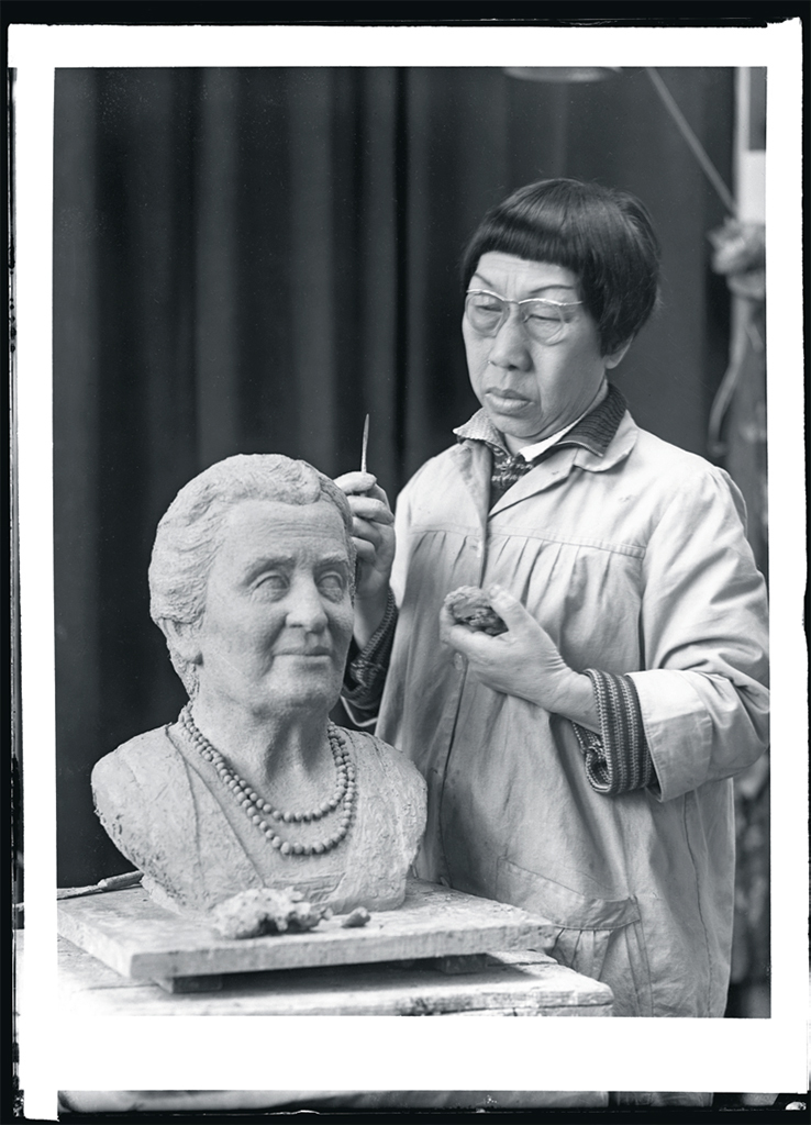 Pan Yuliang sculpting a bust of Maria Montessori, France, ca. 1950. Photo: Marc Vaux.