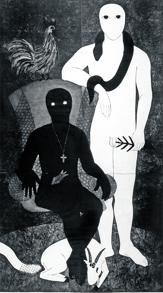 "Belkis Ayón, La familia, 1991, collograph, 98 3/8 × 26 3/8"". © Estate of Belkis Ayon."