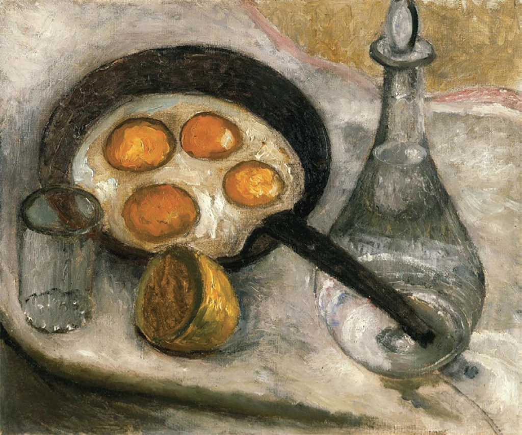 "Paula Modersohn-Becker, Stillleben mit Spiegeleiern in der Pfanne (Still Life with Fried Eggs in the Frying Pan), ca. 1905, oil on canvas, 15 × 18""."