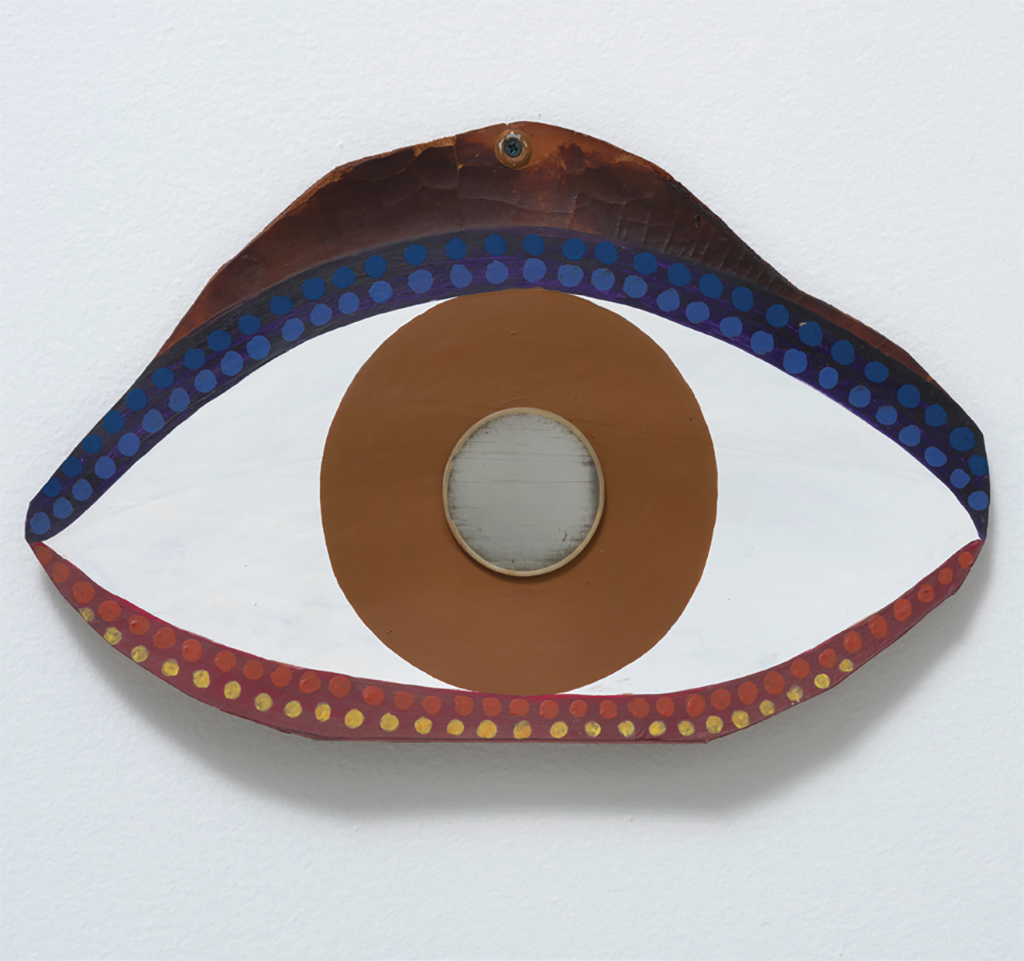 "Betye Saar, Eye, 1972, acrylic on leather, 8 1/2 × 13 3/4"". From ""Soul of A Nation: Art in the Age of Black Power."""