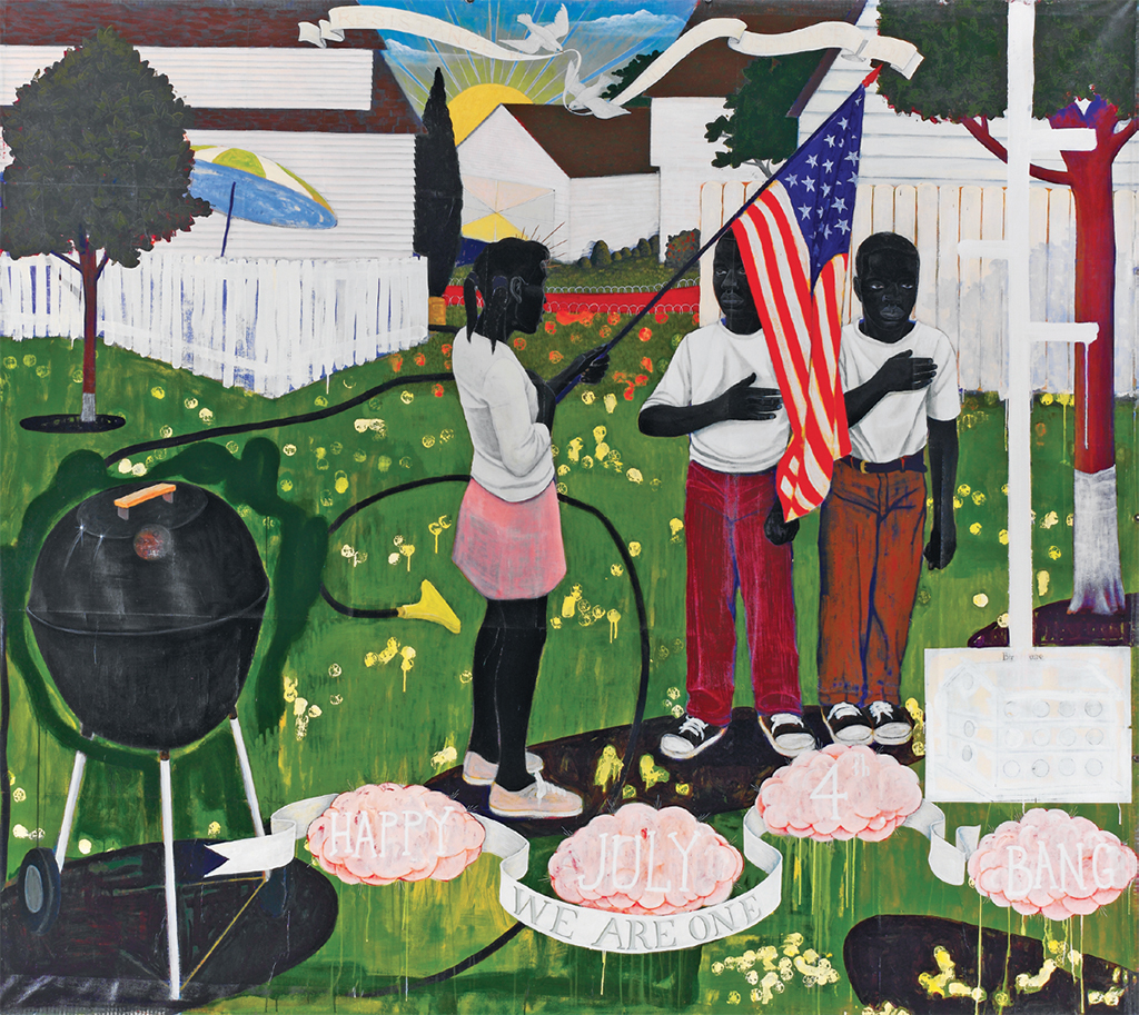 "Kerry James Marshall, Bang, 1994, acrylic and collage on canvas, 103 × 114""."