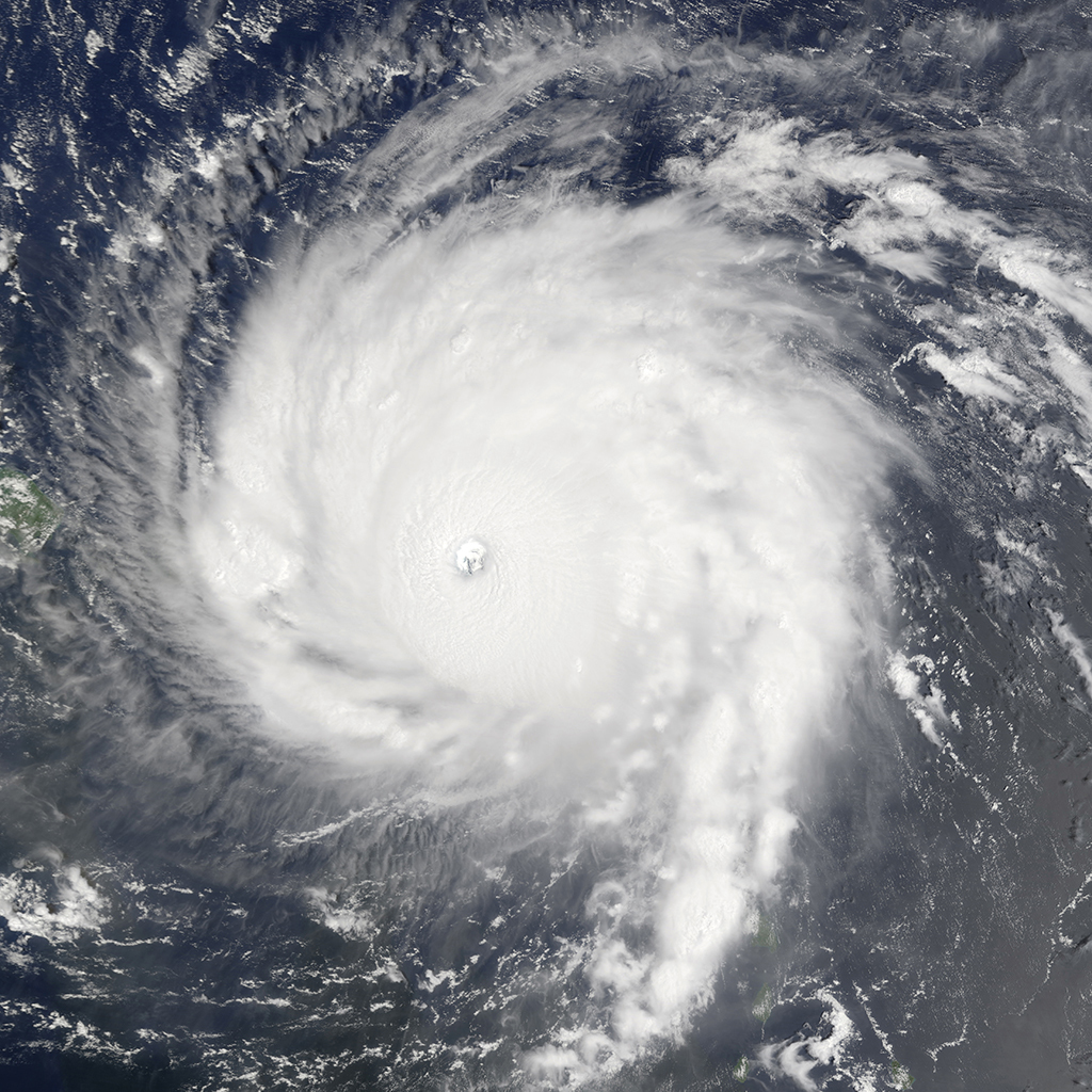 Hurricane Irma over Anguilla and Barbuda, September 6, 2017. Photo: NASA.