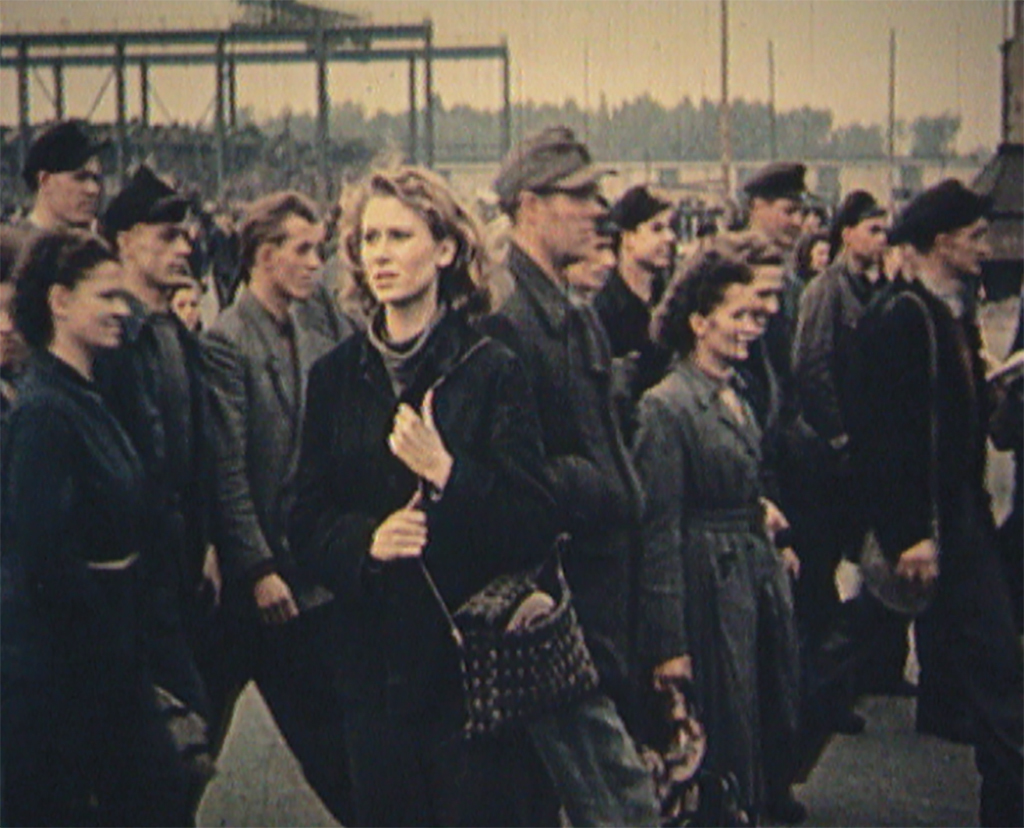 Harun Farocki, Workers Leaving the Factory in Eleven Decades (detail), 2006, still from a 37-second color and black-and-white video component of a twelve-monitor installation.