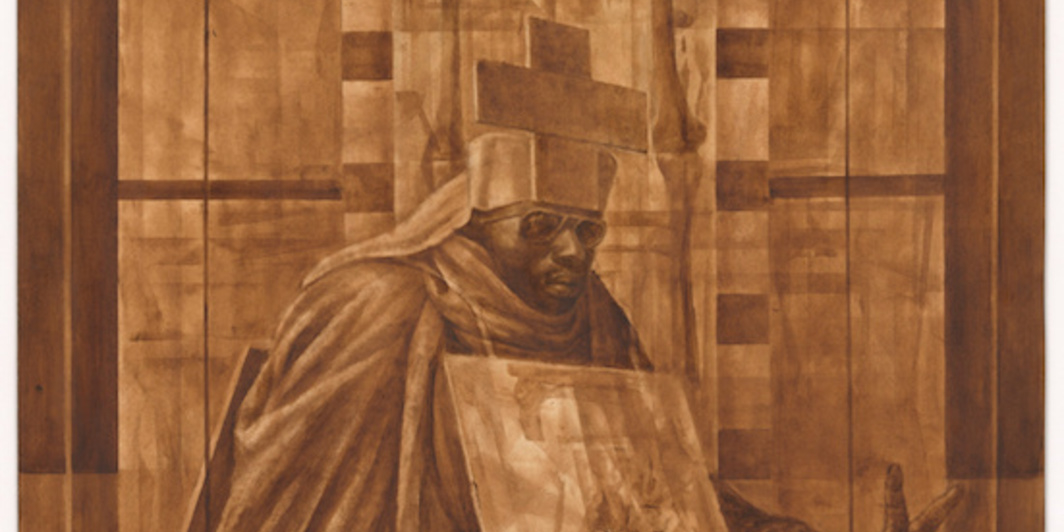 "Charles White, Black Pope (Sandwich Board Man), 1973, oil wash on board, 60 x 44""."