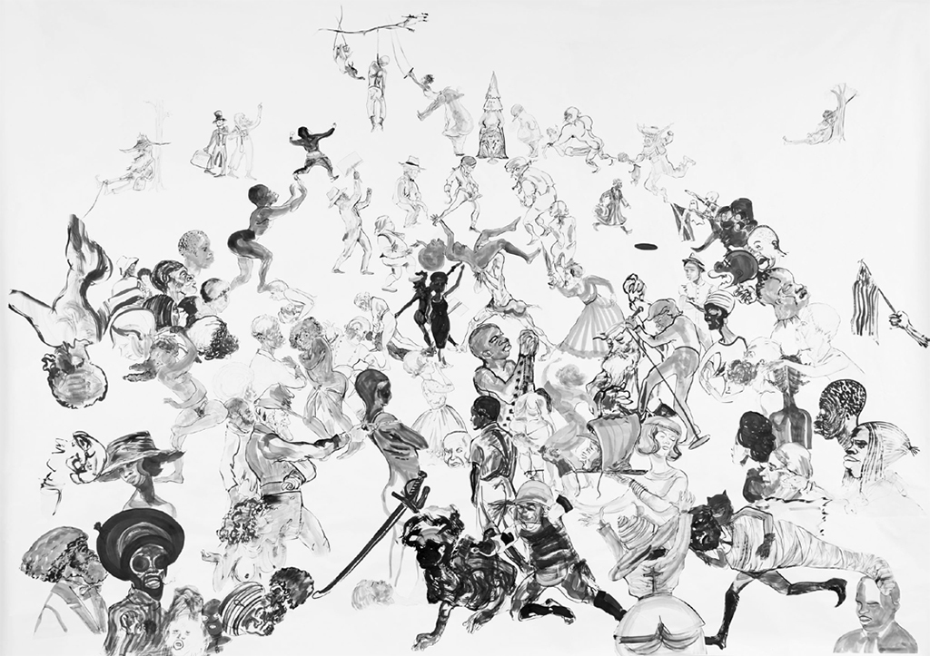 "Kara Walker, Christ's Entry into Journalism, 2017, sumi ink and collage on paper, 11' 8"" x 16' 4""."