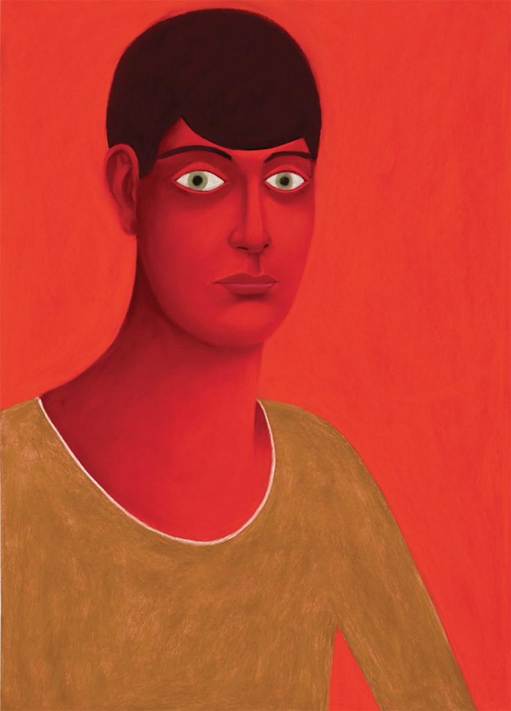 "Nicolas Party, Red Portrait, 2017, soft pastel on pastel card, 31 1/2 x 22 1/4""."