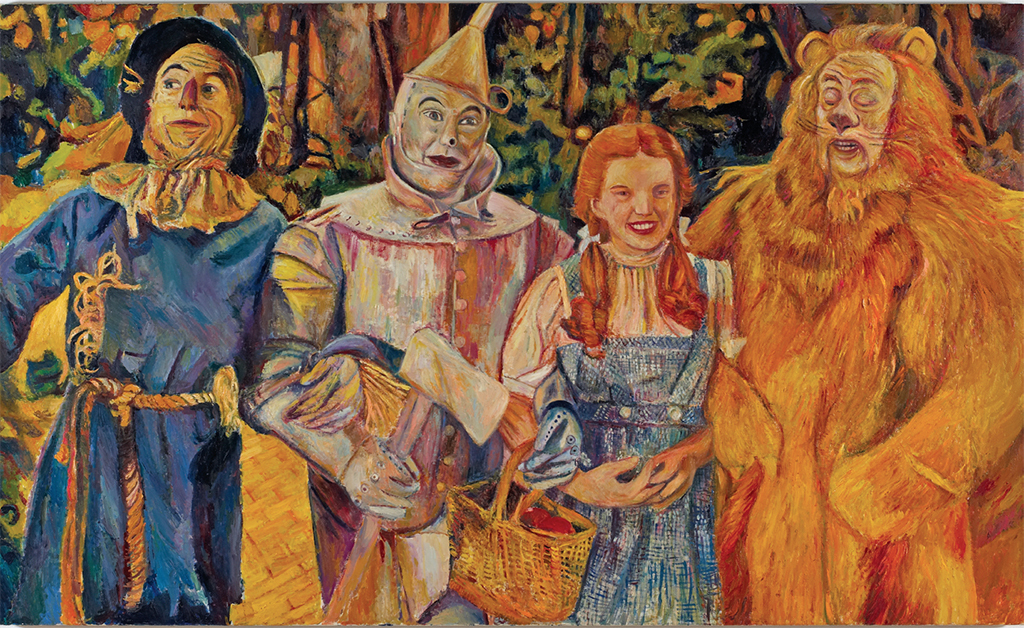 "Keith Mayerson, The Wizard of Oz Quintet, 2006, oil on linen, 48 x 80""."