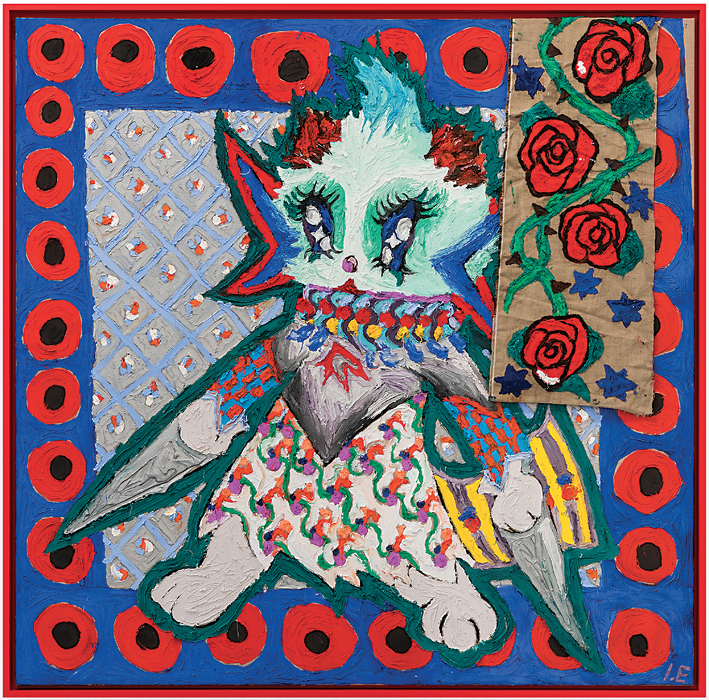 "Ida Ekblad, Fantasy on my phone, 2017, plastisol, puff paint, cotton, linen, 62 3/8 x 62 1/8""."