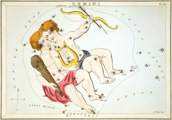Gemini as depicted in Urania's Mirror, from a set of constellation cards published in London, ca. 1825.