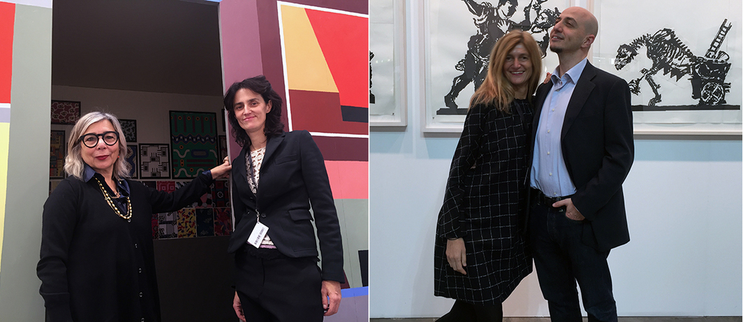 Left: Art Critic Alessandra Mammì and dealer Francesca Migliorati. Right: Dealer Paola Potena and MART Director Gianfranco Maraniello.