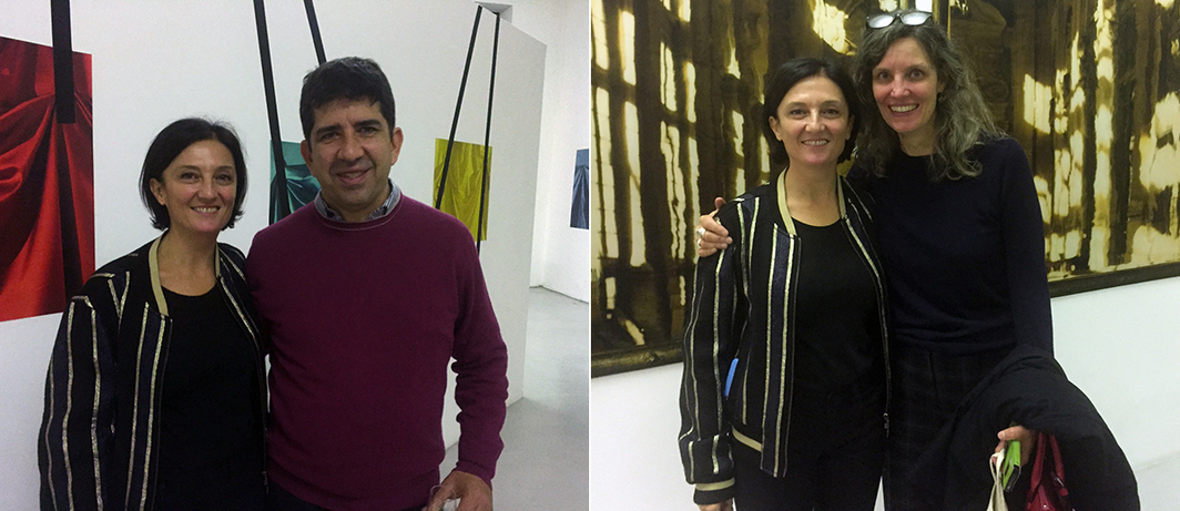 Left: Artist Elisa Sighicelli and collector Carlos Marsano. Right: Artist Elisa Sighicelli with CIMA Director Heather Ewing.