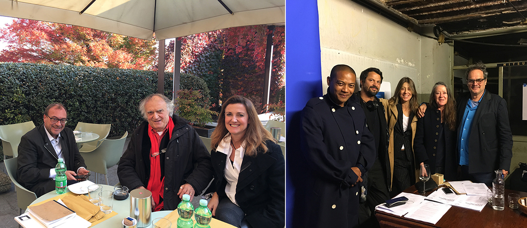 Left: Artist Gilberto Zorio, Castello di Rivoli curator Marcella Beccaria. Right: A Constructed World artists Geoff Lowe and Jacqueline Riva with lawyer Roger Ouk, Marsèlleria Artistic Director Mirko Rizzi, Case Chiuse curator Paola Clerico.