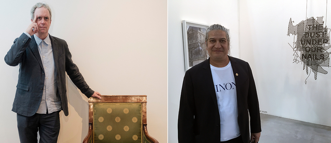 Left: Artist Tony Oursler. (Photo: Andrea Guermani). Right: Artist Carlos Garaicoa.
