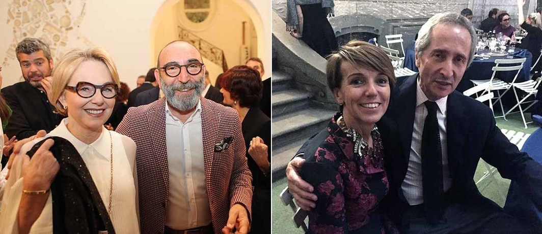Left: Collectors Mirella and Daniel Levinas at Sandretto dinner. Right: Collector Patrizia Sandretto Re Rebaudengo and Centre Pompidou Director Bernard Blistène.