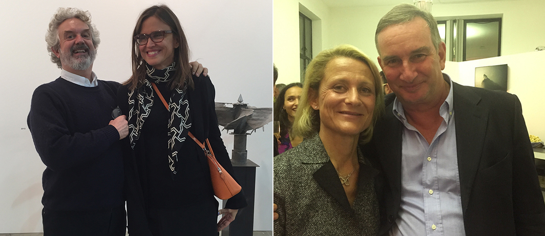 Left: Curator Alberto Salvadori and artist Debora Hirsch. Right: Curators Elena Geuna and Ludovico Pratesi.