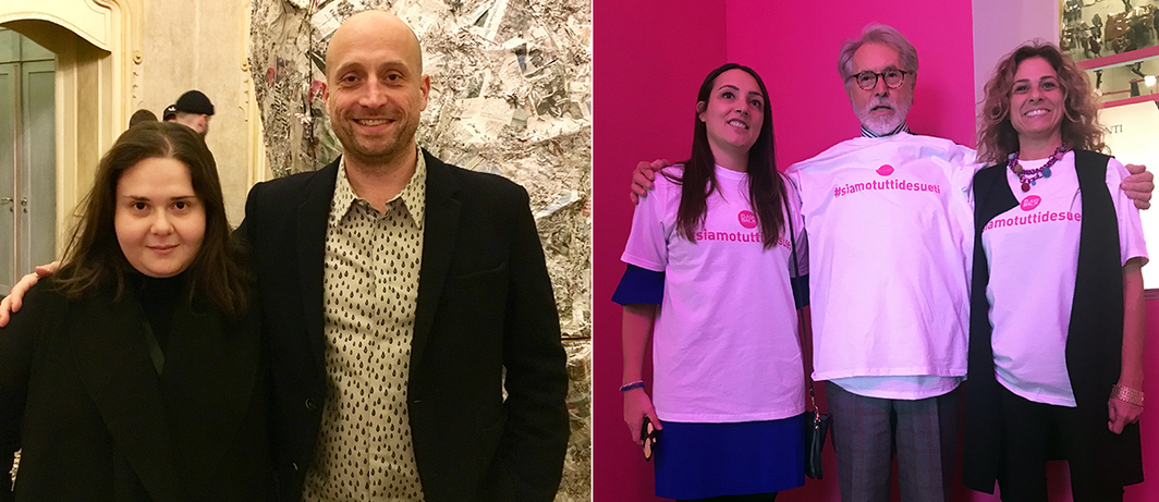 Left: Curator Carolina Lio and dealer Christian Mooney. Right: Dealer Gian Enzo Sperone with Flashback Curators Stefania Poddighe and Ginevra Pucci.