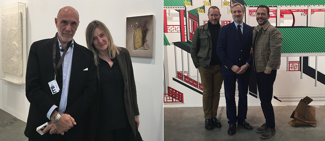 Left: Dealer Guido Costa and Fondazione Querini Stampalia Chief Curator Chiara Bertola. Right: Dealer Pierpaolo Falone with collectors Luca Bombassei and Fabio Pacifico.