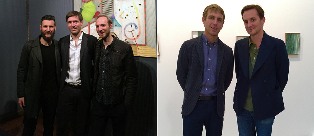 Left: Eugenio Re Rebaudengo with artists Manuele Cerutti and David Czupryn. Right: Spazio Zuecca Curator Alessandro Possati and Vogue Italia Deputy Editor in Chief Alan Prada.