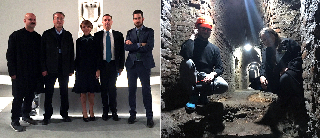Left: OGR curators Mark Rappolt and Tom Eccles, collector Patrizia Re Rebaudengo, OGR General Director Massimo Lapucci and Artistic Director Nicola Ricciardi. Right: Treti Galaxie's curators Matteo Mottin and Ramona Ponzini in Fortezza del Pastiss' tunnel.