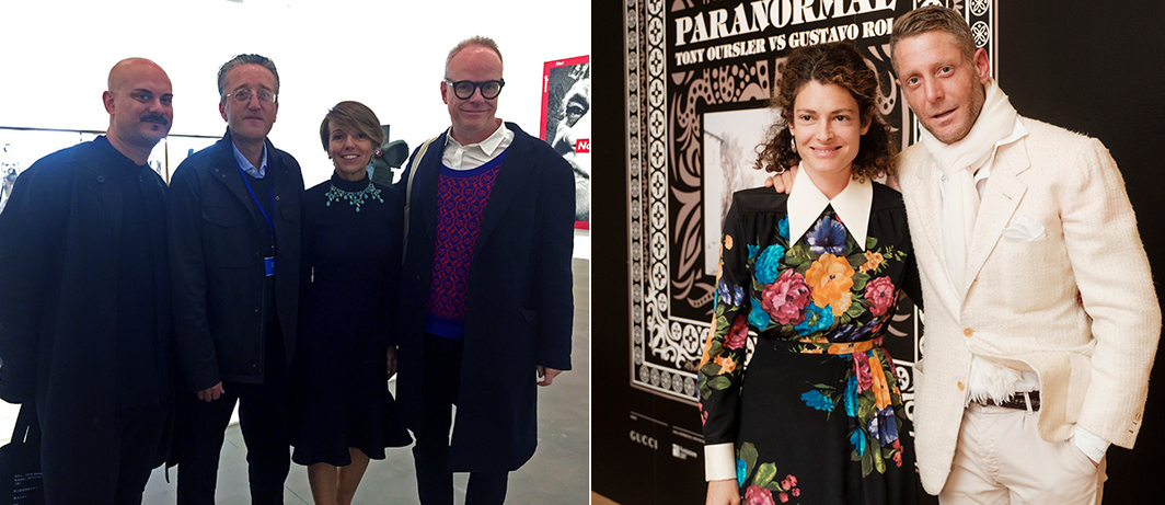 Left: Patrizia Sandretto Re Rebaudengo with curators Mark Rappolt, Tom Eccles and Hans Ulrich Obrist. Right: Ginevra and Lapo Elkann at Tony Oursler's Paranormal opening (Photo: Andrea Guermani).