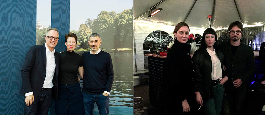 Left: Premio Campari Jury, curators Adam Budak, Carina Plath, Francesco Stocchi. Right: The Others Art Fair Curators Ludovica Capobianco, Greta Scarpa, Bruno Barsanti.
