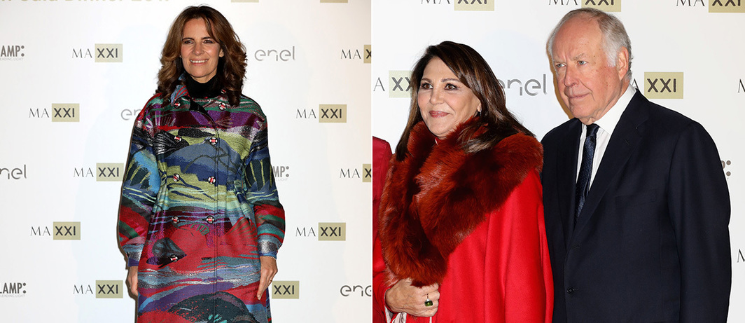Left: Collector Roberta Armani. Right: Collectors Beatrice and Nicola Bulgari.