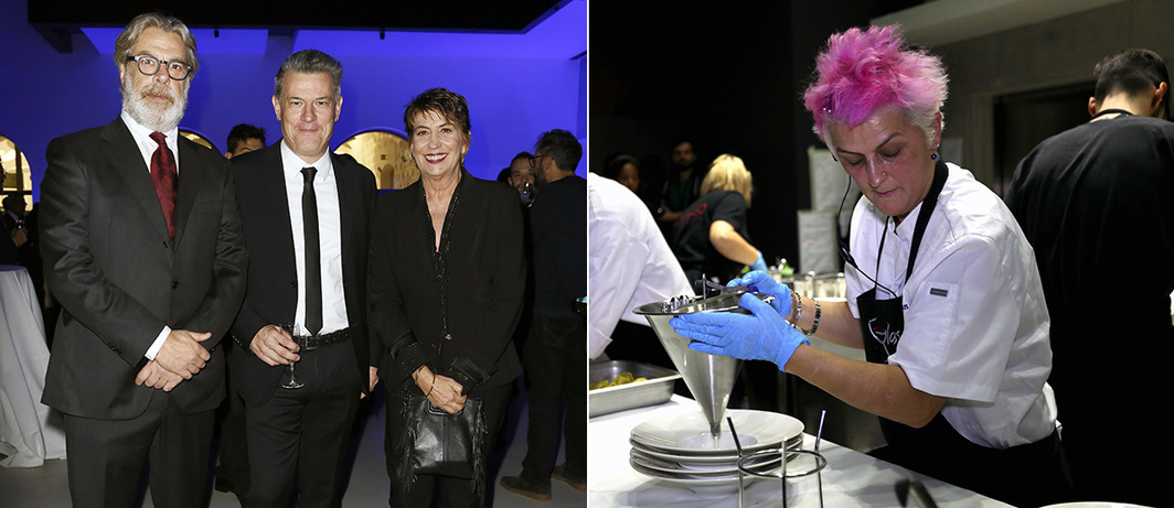 Left: Composer Lele Marchitelli, Sky Arte Director Roberto Pisoni, TV Presenter Serena Dandini. Right: Chef Cristina Bowerman.