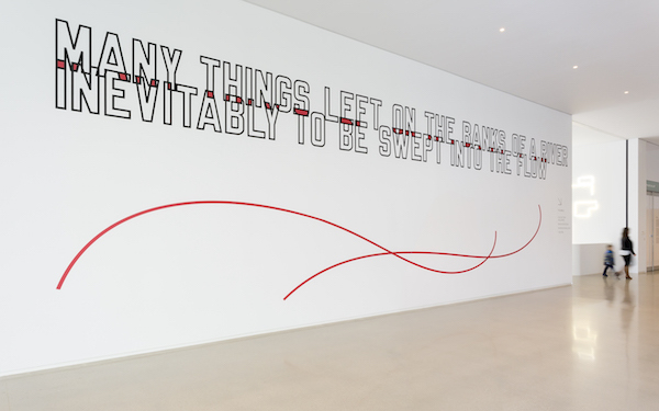 Lawrence Weiner, MANY THINGS LEFT ON THE BANKS OF A RIVER INEVITABLY TO BE SWEPT INTO THE FLOW, 2013, mixed media, dimensions variable. Photo: Blain Campbell.