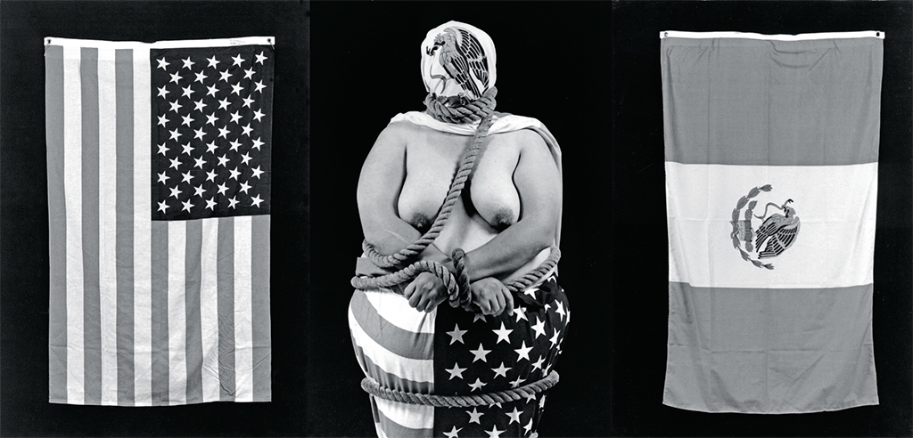 "Laura Aguilar, Three Eagles Flying, 1990, three gelatin silver prints, each 24 × 20""."